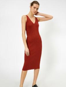 Kırmızı Kısa Kollu Elbise