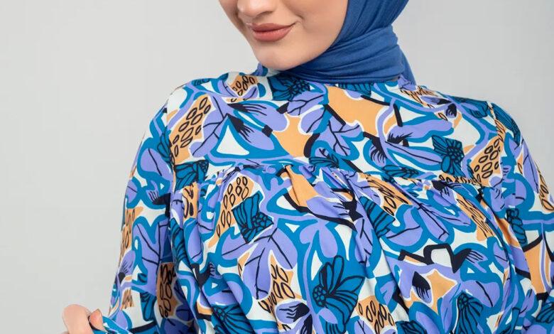 Mavi desenli elbise